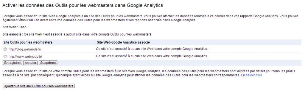 Lier compte Google Analytics