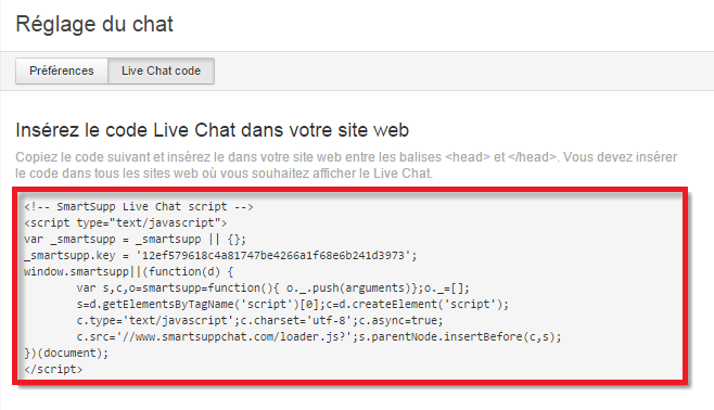 Le code embed Smartsupp live chat